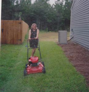 First lesson in lawn mowing.