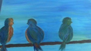 Three feathered Friends Original painting by: Julie Allan