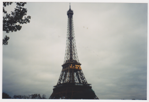 The Eiffel Tower April 1999 with the count down clock for the new millennium.