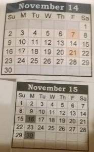 November 2014 to November 2015